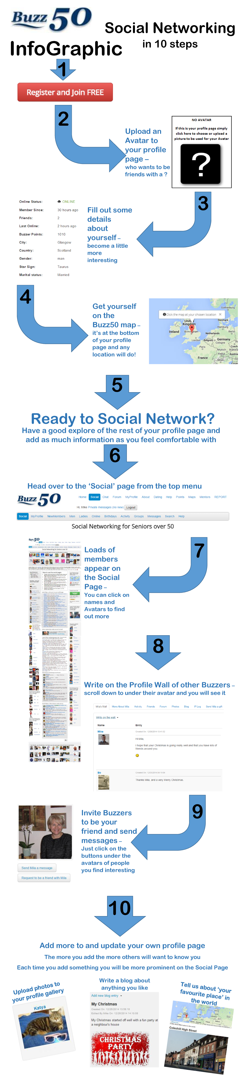 Social networking for seniors over 50 infographic