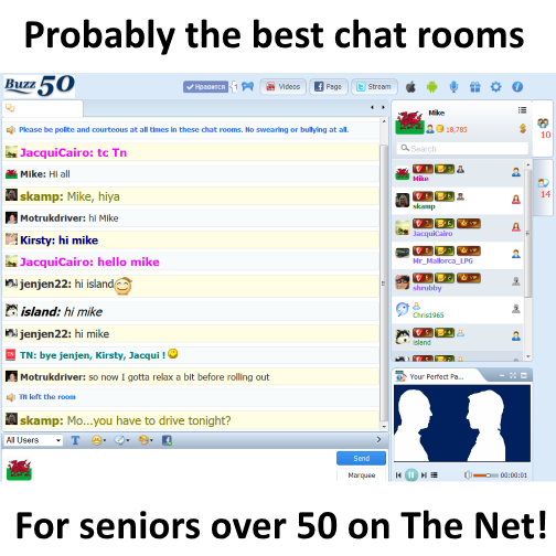 Chat rooms for 50 and over