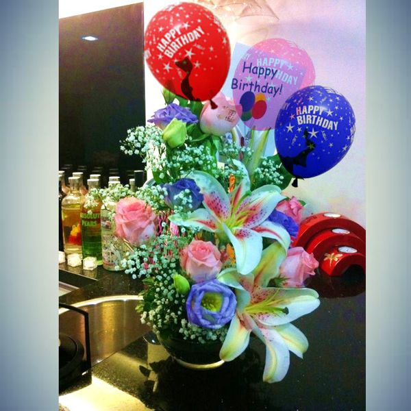 Birthday Cake With Flowers And Balloons